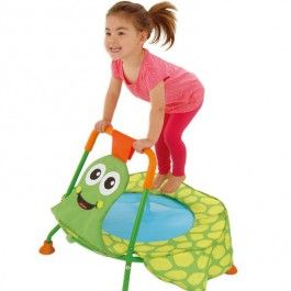 http://www.educationaltoysplanet.com/jumpin-jr-first-trampoline.html Nursery Trampoline for Toddlers. The toddler trampoline by Galt comes with smiling tortoise design, bright colors and special safety features for fun and safe jumping.