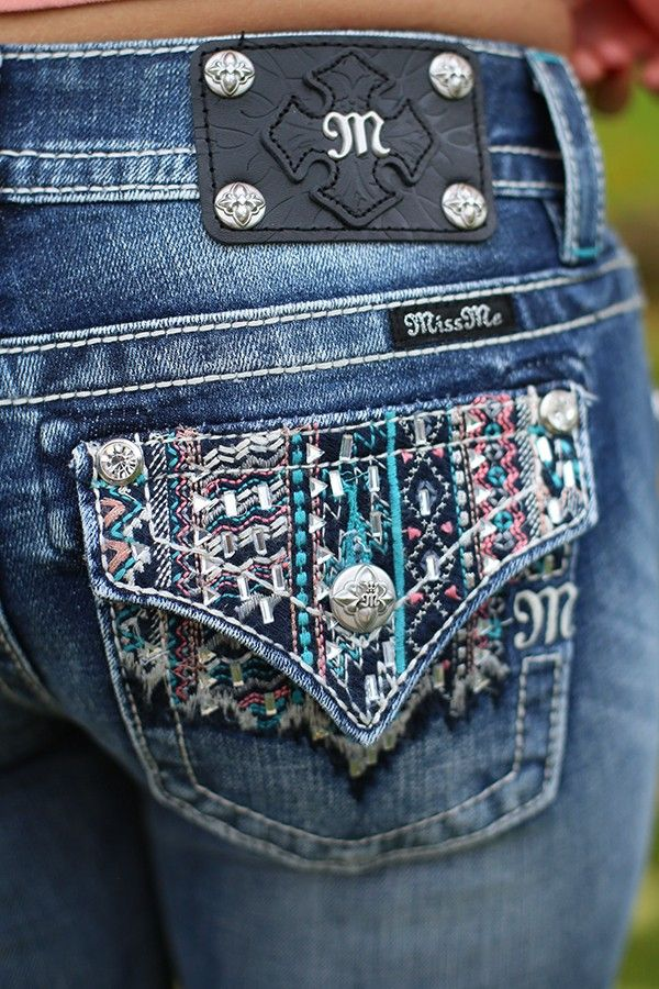 Aztec Sunset Bootcut Jeans. These pockets would give me some booty !!!!!