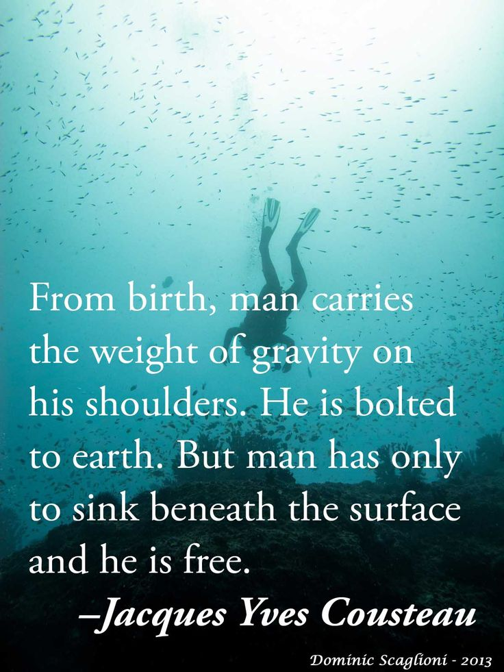 From birth, man carries the weight of gravity on his shoulders. He is bolted to earth. But man has only to sink beneath the surface and he is free.– Jacques Yves Cousteau