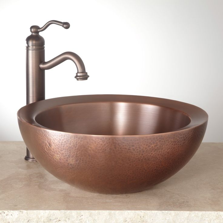 "16""+Casalina+Double-Wall+Hammered+Copper+Vessel+Sink+"