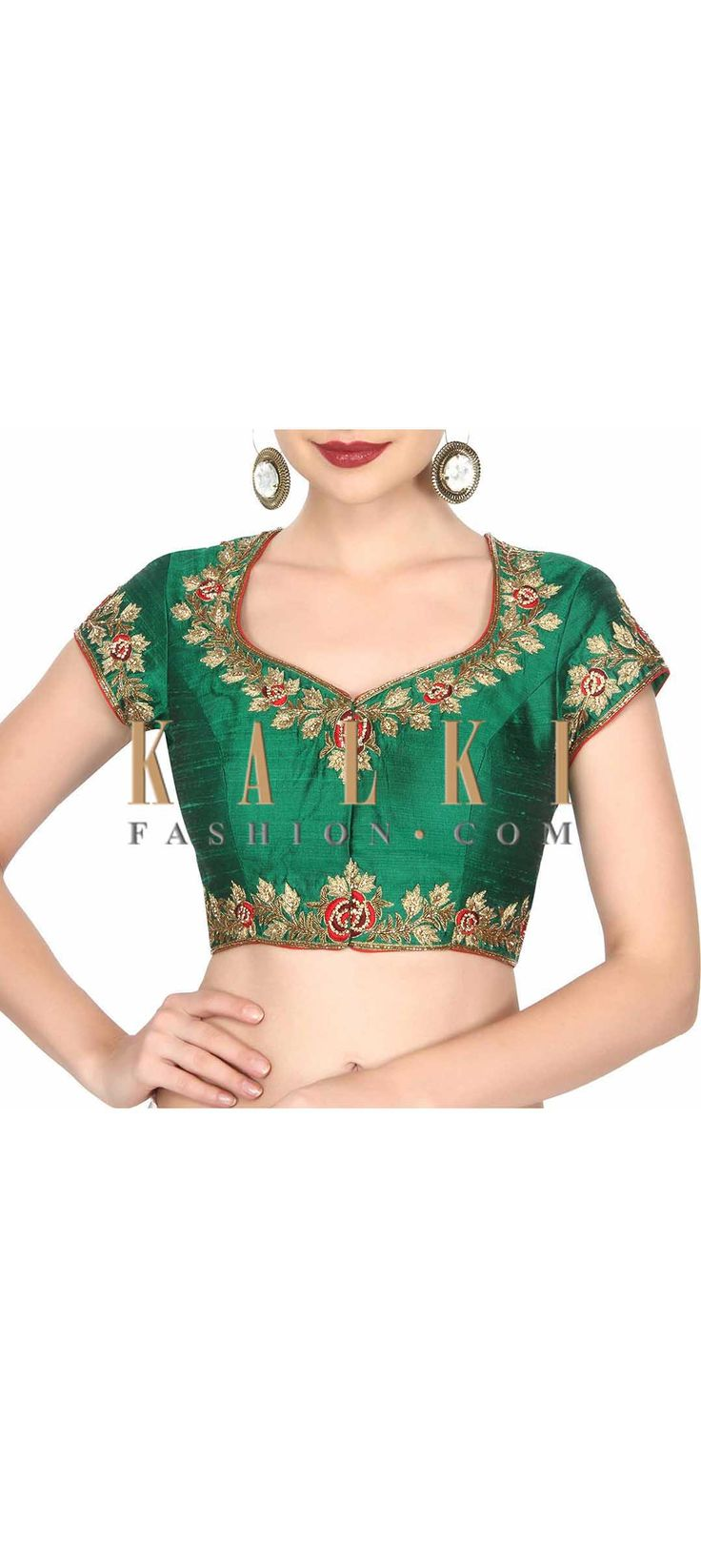 buy this Green blouse adorn in peacock motif embroidery only on Kalki