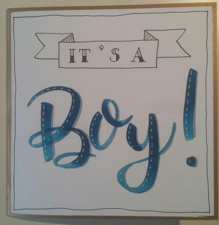 Kaart - Handlettering - It's a boy!
