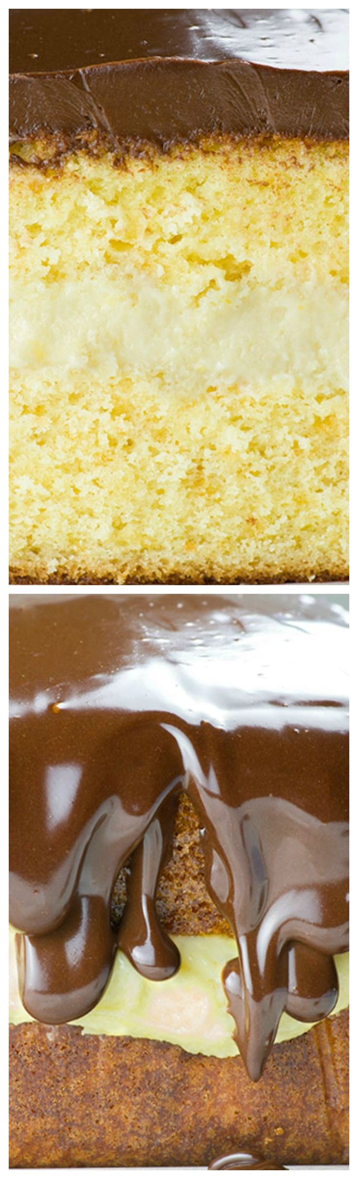 Boston Cream Pie Pound Cake ~ Magnificent, smooth and creamy filling with vanilla flavor sandwiched between two cake layer, topped with fudgy and rich chocolate ganache layer is winning combo... You get both vanilla and chocolate in one mouthwatering treat!