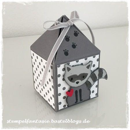 Stampin Up_Box mit Pyramidendeckel_Pretty Petal Box_Foxy Friends_Waschbaer_Fuchs Elementstanze_Punkte_Kinder_Stempelfantasie_1