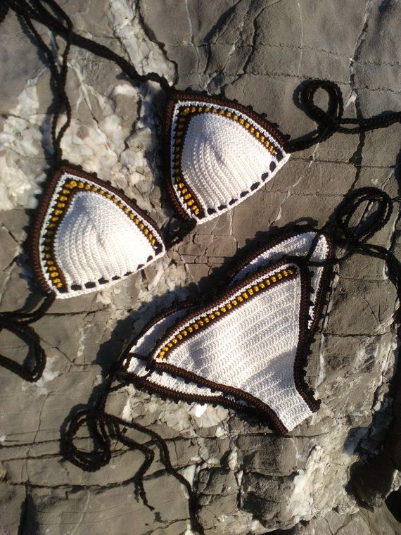 crochet bikini Marsha - Crochet Vintage bikini, Crochet Boho bikini, Hippie bikini, Triangle bikini, String bikini