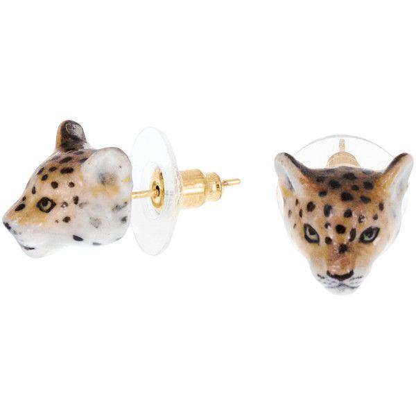 Nach Bijoux Golden Brass & Porcelain Earrings ($42) ❤ liked on Polyvore featuring jewelry, earrings, animal print, animal print jewelry, leopard print earrings, golden jewelry, clasp earrings and leopard jewelry