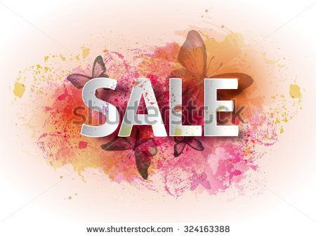 Watercolor poster sale. A bright watercolor background with butterflies, percent, a discount, the price, seasonal sale. Vector illustration - stock vector