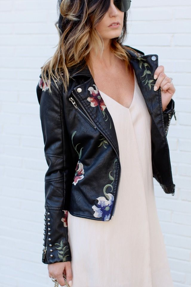Floral leather jacket and a slip dress for a feminine yet edgy look via For All Things Lovely | Dress: Urban Outfitters, Jacket: Urban Outfitters, Shoes: Zara, Handbag: Valentino, Sunglasses: Ray Ban