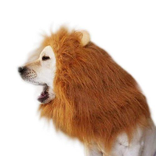 Halloween Lion Mane Dog Wig Costume for your Medium/Large Sized Dog - Soft Brown Fluffy Warm Polyester Wig, Pair Attached Ears, Friendly Lion Costumes for Pets, Party Lion Mask for Costume Contest ** To view further for this item, visit the image link.