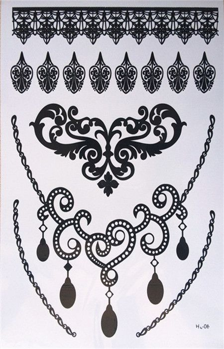 Free shipping waterproof sexy black lace temporary tattoos henna tattoos Arab tattoos black and white bracelet #Affiliate