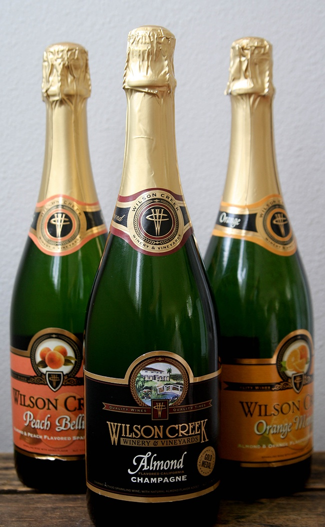 Wilson Creek Almond Champagne, plus the Peach Bellini and Orange Mimosa variations.  They're all delicious!