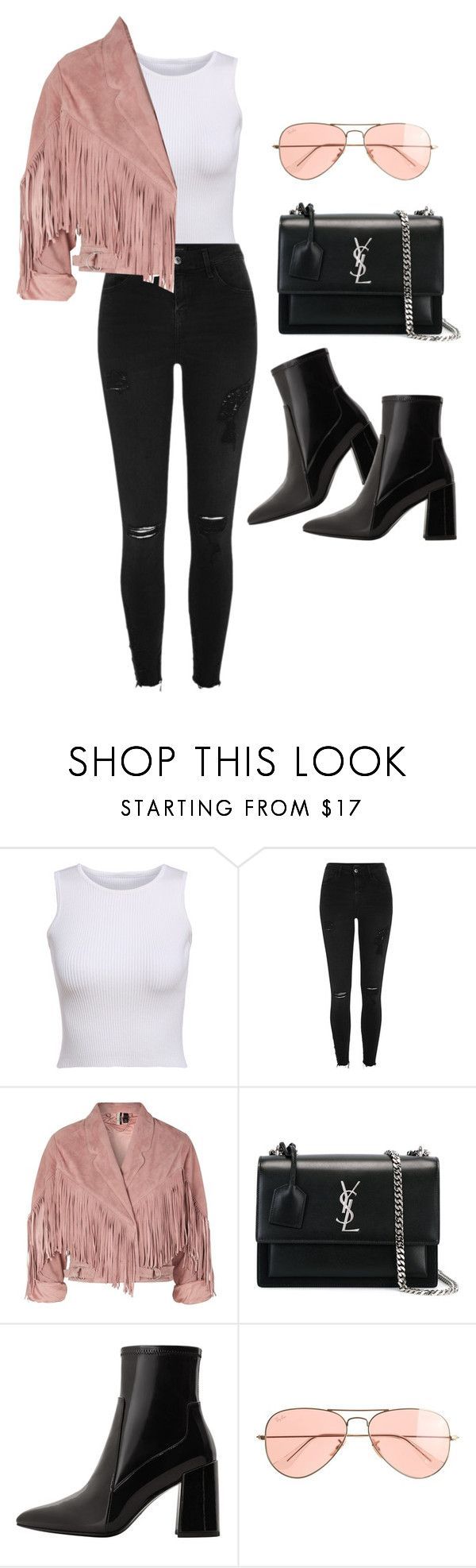 """""""Untitled #5066"""" by lilaclynn ❤ liked on Polyvore featuring River Island, Topshop, Yves Saint Laurent, MANGO and J.Crew"""