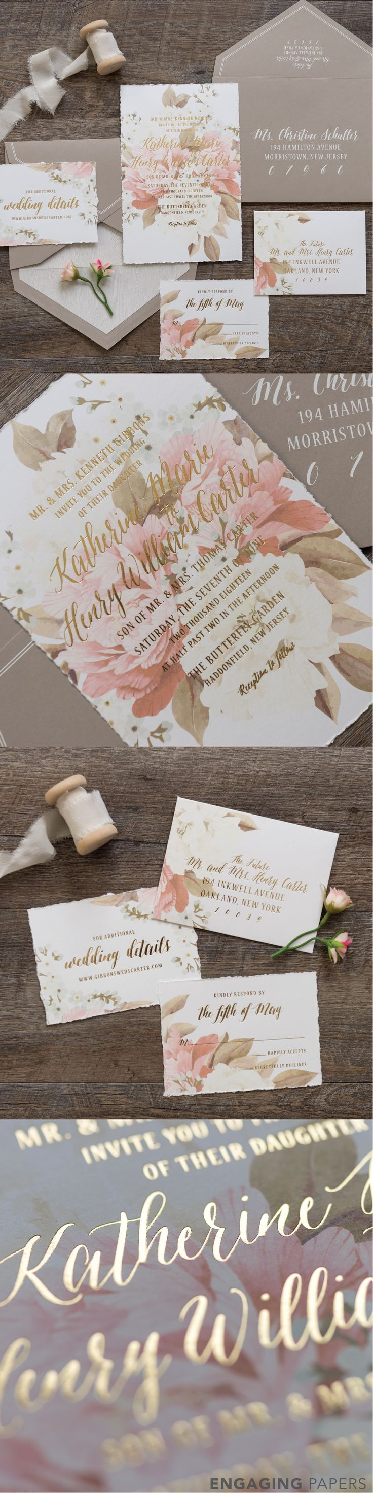 Katherine is a 1 ply thick invitation featuring deckled edges and a muted yet captivated floral print that washes through the entire wedding invitation suite. The light hearted script font is printed in gold foil throughout the invitation, enclosure cards, and RSVP set. All aspects of the design are tucked neatly into a light taupe colored envelope with white piping. Inside the envelope is a gray wood grained liner.