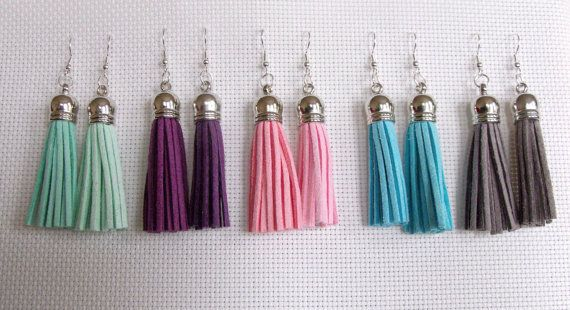 Handmade Suede Tassel Earrings 5 COLOURS AVAILABLE by AlyEverAfter #dorsetteam