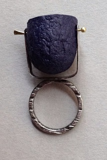 silver ring with silk cocoon