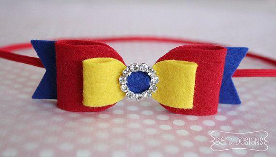 Feltro de lã Bow Headband Inspirado pelo Disney Princess Snow White-Wool Felt Bow-Bow Headband Felt-Photo Prop-Baby Girl Headband- da Disney