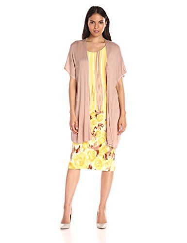 Maya Brooke Womens Sweater Duster and Knit BorderPrint Dress YellowSand 12 * Continue to the product at the image link.
