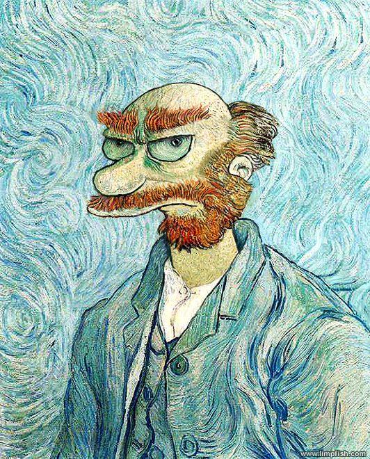 Van Gogh, les parodies et les geeks willie simpsons van gogh geek design art