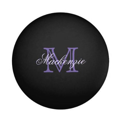 Classic Play | Monogram Purple Name Script Initial Ping-Pong Ball - monogram gifts unique design style monogrammed diy cyo customize