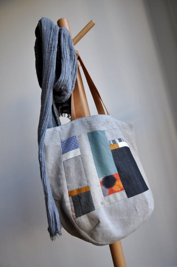 ON SALE - Patchwork linen bag with leather handles