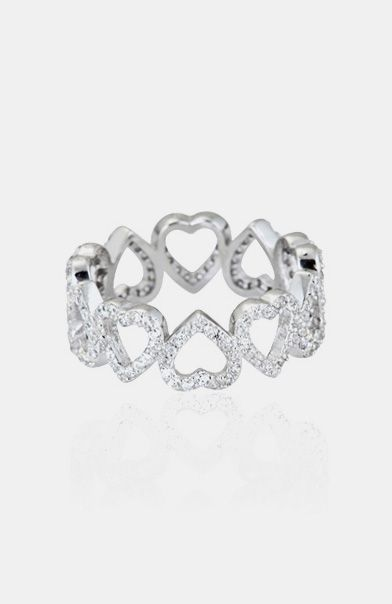 Cubic Zirconia & Sterling Silver Heart Cutout Ring