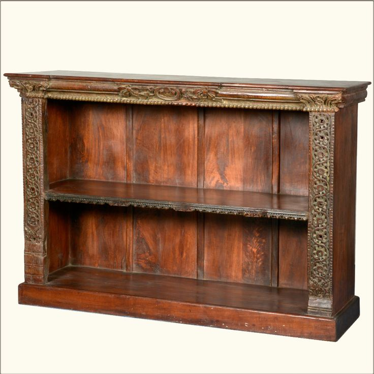 Victorian Reclaimed Wood Open Bookcase Display Media Cabinet