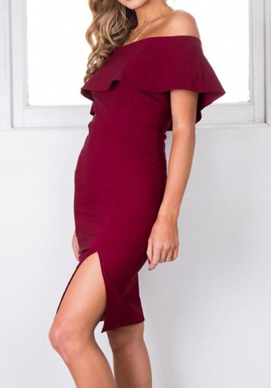 08a8ac872e Burgundy Side Slit Off Shoulder Ruffle Draped Front Slit Cocktail Party Midi  Dress