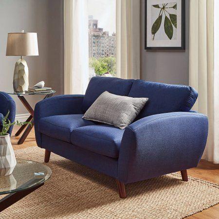 Chelsea Lane Mid Century Modern Loveseat, Multiple Colors, Blue