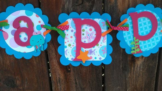 Girls Mermaid Under the Sea Birthday banner in by SweetBugABoo, $40.00