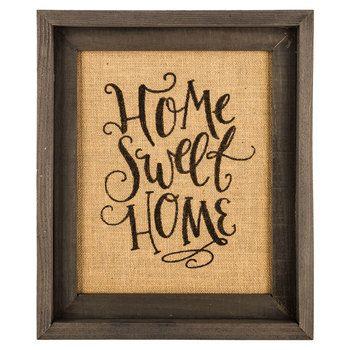 Home Sweet Home Framed Burlap Wall Decor