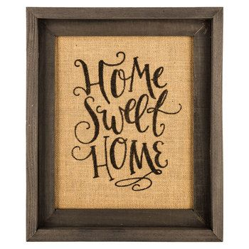 Home Sweet Home Framed Burlap Wall Decor