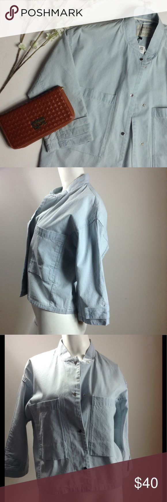 """🆕 Zara 💠 Jacket Zara 💠 Jacket, NWT, Polyester and Cotton Fabric, Snap Up Front Closure, Chest 44"""", Length 21"""", Light Blue Denim Appearance 💠💠💠 accepting reasonable offers Zara Jackets & Coats Jean Jackets"""