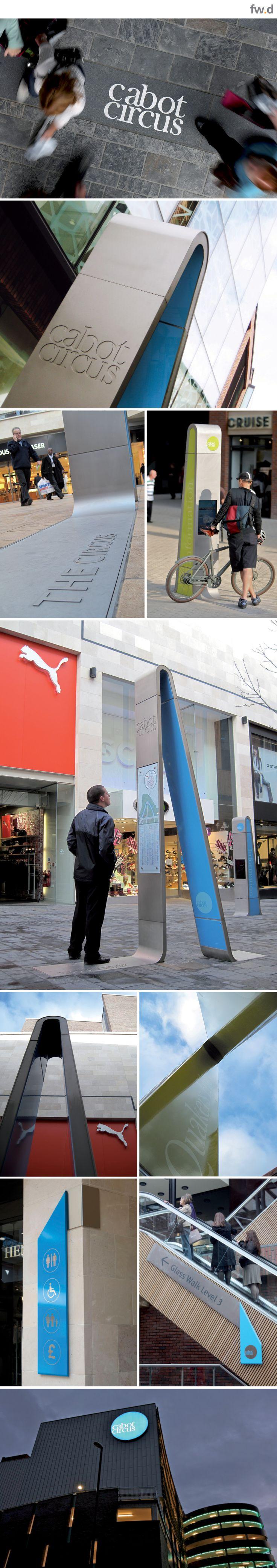 Retail destination, Cabot Circus, Bristol pedestrian wayfinding & signage design by fwdesign. www.fwdesign.com
