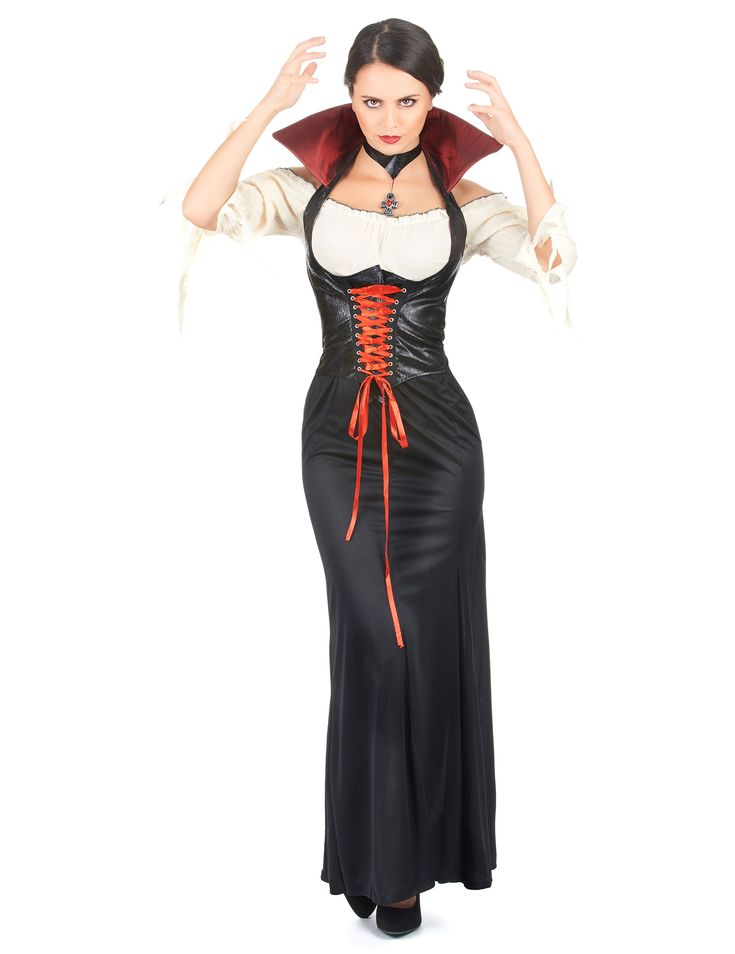 Déguisement vampire femme Halloween : Ce déguisement de comtesse se compose d'une jupe, d'un haut, d'un gilet et d'un tour de cou. La jupe noire est longue est à la taille élastique.La chemise blanc...