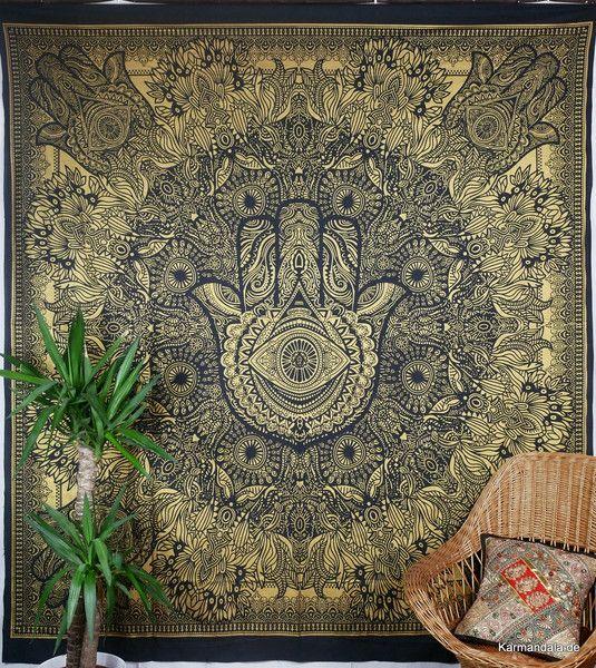 Tagesdecken - Hamsas Hand Gold Wandtuch indische Tagesdecke - ein Designerstück von Karmandala bei DaWanda