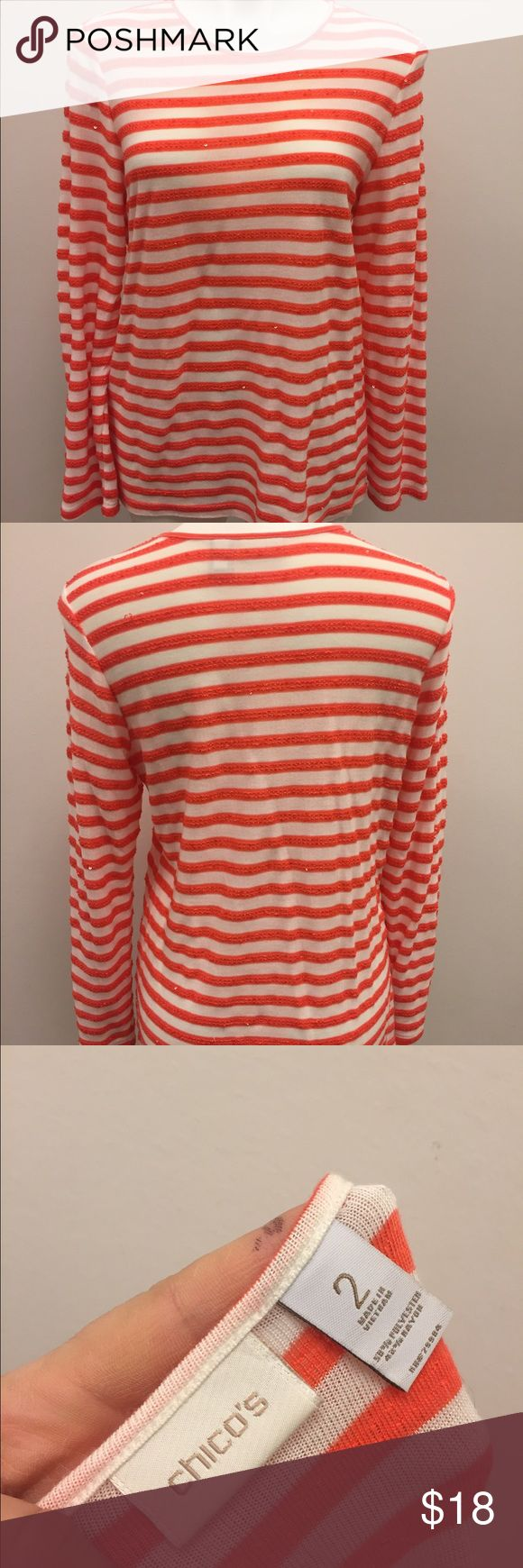 Chicos nautical striped sparkle top Beautiful Sleeved Knit Top from Chicos in a Geranium Poppy colored stripe with creamy white. There are also Sparkle accents to the blouse as well. I've only worn this Blouse one time. There is a small makeup mark at the neckline. Otherwise very good condition! It is a Chicos size 2 which equals a size large. #stripes #chicos #nautical #poppy #spring #bright Chico's Tops