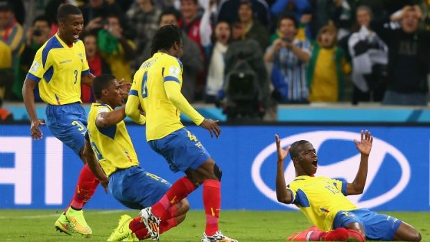 Ecuador's Enner Valencia, right, celebrates his second goal of the match against Honduras at the 2014 FIFA World Cup.