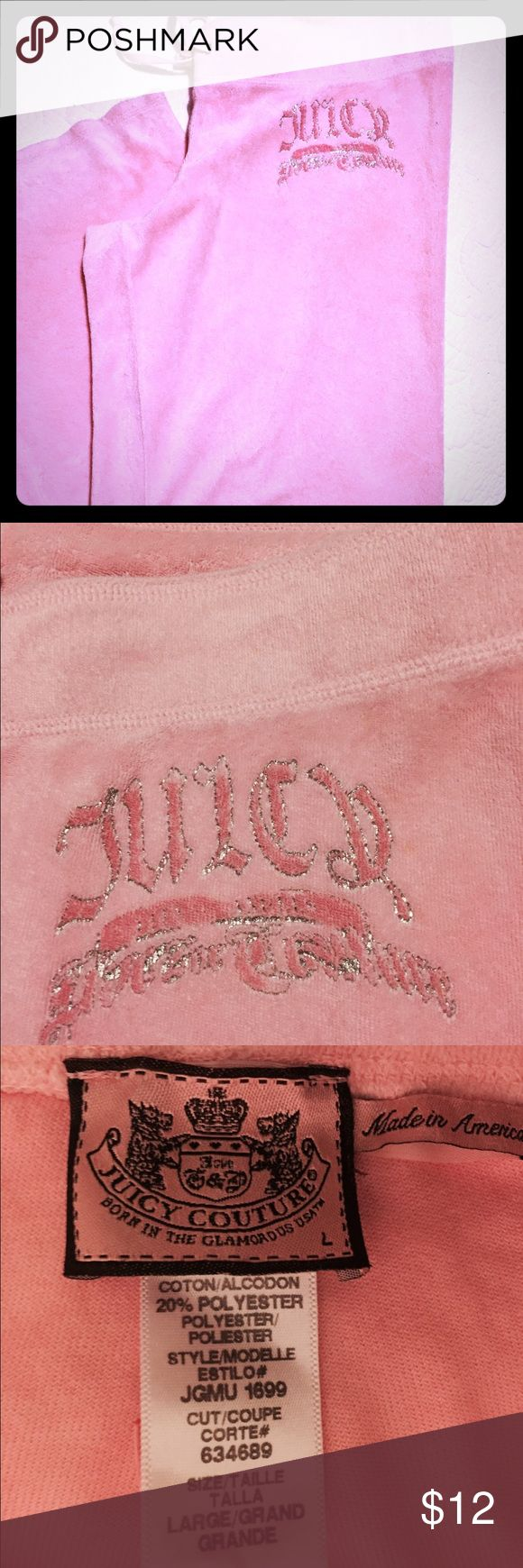Juicy Couture Velour track pants Juicy Couture size large light pink Velour flare pants. Gently worn. 💞Make An Offer 🚫NO TRADES.                ✅Bundle&Save Juicy Couture Pants Track Pants & Joggers