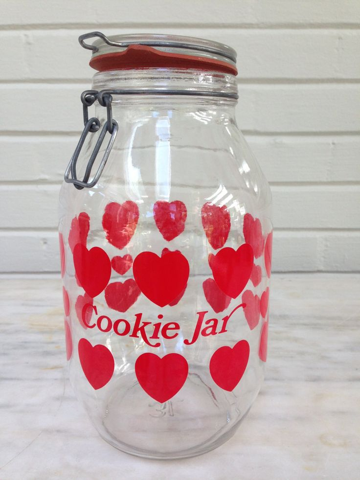 Vintage Carlton Glass Hinged Top Cookie Jar 3 Liter Hearts Deco, canister, kitchen  storage 1970s