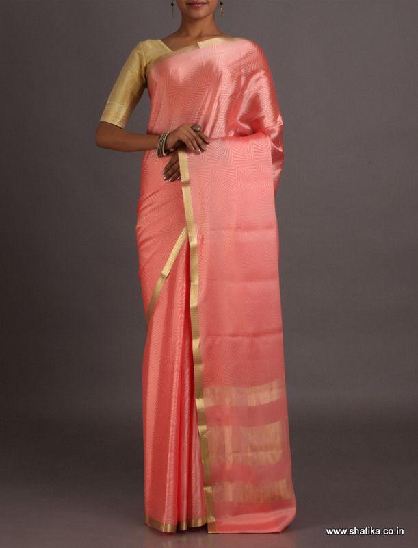 Deepa Plush Peach With Gold Lace Border #MysoreSilkSaree
