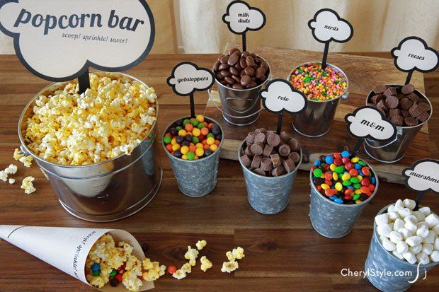 "DIY popcorn bar with printable labels is the perfect crowd pleaser | cherylstyle.com - Could be fun & easy for ""Ready to Pop"" baby shower"