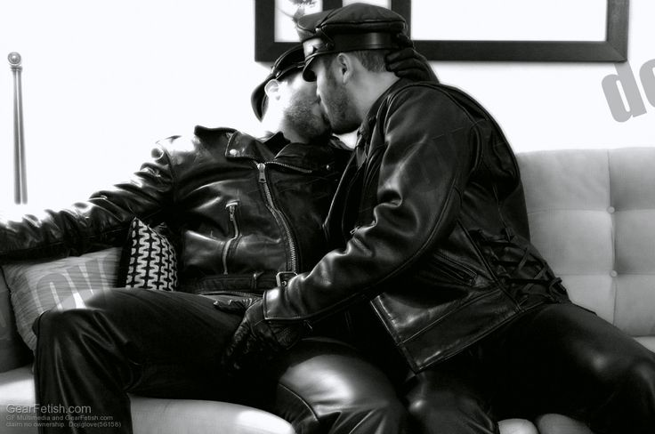 leather gay kissing