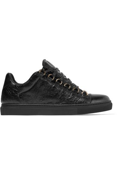 Balenciaga - Arena Crinkled-leather Sneakers - Black - IT