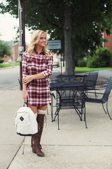 Photo from Single Thread Boutique - Back To Campus 2015 collection by Single Thread Boutique #plaiddress #backpack #kneehigh #boots #singlethreadbtq #shopstb #boutique