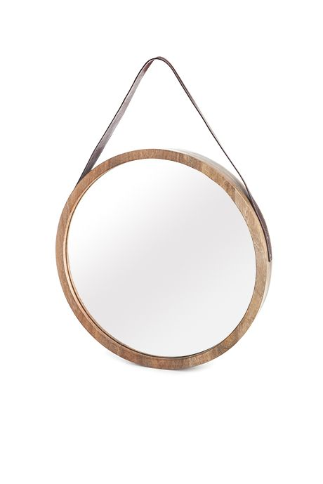 Beaver Canoe For Target Round Mirror With Leather Strap