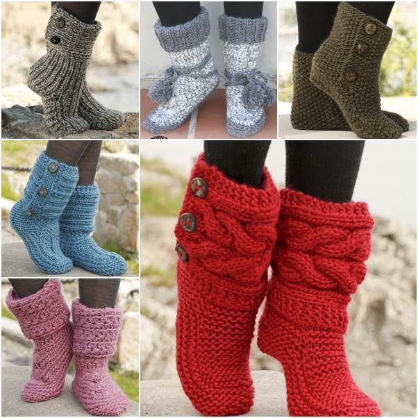 6 Stylish Knitted and Crochet Slipper Boots FREE Patterns #craft #crochet #knitting #boots #free #patterns
