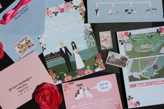 invite card rsvp mapreception card custom illustrated wedding invitations
