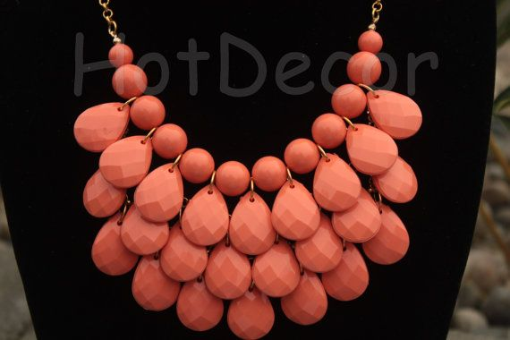 statement necklace Bubble necklace Bib Necklace teardrop necklace silver or gold chain Coral necklace coral jewelry for holiday Ship form US...