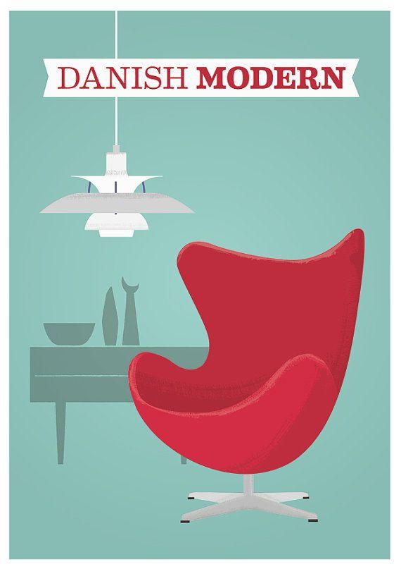 Mid century print, Retro danish modern, Arne Jacobsen Print, vintage, eames, ph5 lamp A3