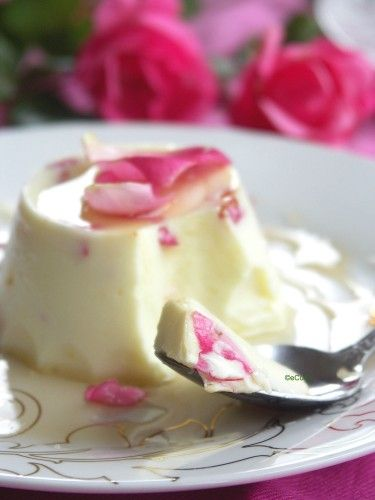 Saffron Yogurt Mousse with Rose Petal Honey | eCurry - The Recipe Blog